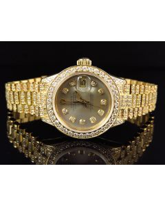 18k Ladies Yellow Gold Rolex Presidential Datejust with 11.5 Ct