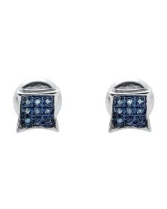 White Gold Finish Sterling Silver Kite Square Blue Diamond Earring Studs 0.05ct.
