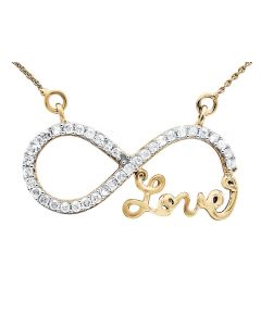 Ladies 10k Yellow Gold Infinity Love Genuine Diamonds Necklace .20ct