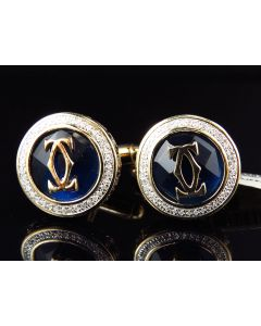 Yellow Gold Finished Blue Gemstone Greek Key Diamond Cuff Links (0.25ct.)