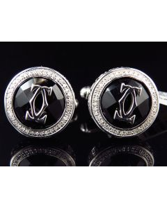 White Gold Finished Onyx Greek Key Diamond Cuff Links (0.25ct.)