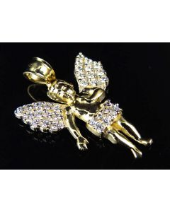 "10K Yellow Gold Simulated Diamond Angelic Charm Pendant (1.0"")"