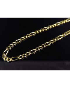 Solid 14K Yellow Gold 2.5MM Figaro Chain Necklace 16 Inch-24 Inch Lobster Clasp