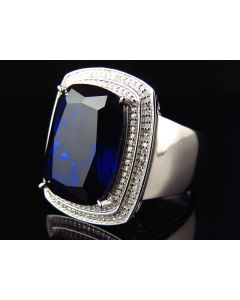 Men's .925 Silver Real Diamond Blue Simulated Sapphire Ring 1.0ct