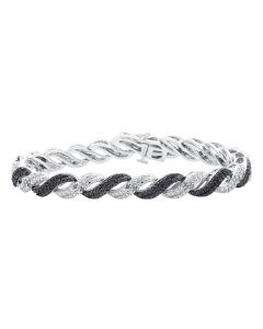 Ladies S Style White Gold Finished 7.5 in Black and White Diamond Bracelet .50ct