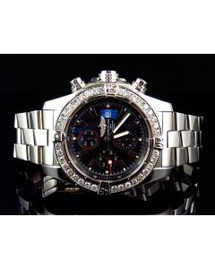 Custom Breitling A13370 Super Avenger Black Dial S.Steel with Diamonds (4.5 Ct)