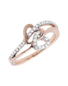 Ladies 10K Rose Gold Heart Wrap Fashion Cocktail Canary Diamond Ring (0.10ct)