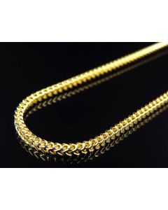 "10K Yellow Gold Hollow Diamond Cut Franco Style Link Chain Necklace 22-38"" (2MM)"
