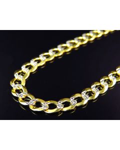 "10K Yellow Gold Solid Diamond Cut Cuban Link Chain 18-30"" (5.5MM)"