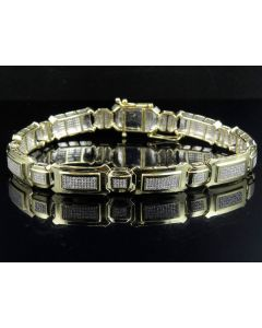 Men's 10K Yellow Gold Pave Real Diamond Designer Bracelet 2.0 ct