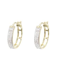 Pave Diamond Hoops in Yellow Gold (0.33 ct)