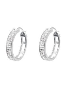 Pave Diamond Hoops in White Gold (0.33 ct)