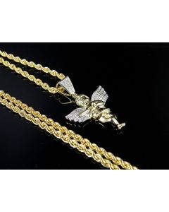 10K Yellow Gold Real Diamond Angel Cherub Pendant 0.25ct Chain Set