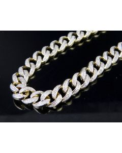 Men's Solid Miami Cuban Real Diamond Chain Necklace 9 ct 8.5MM 31 Inch