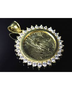 "Replica 10K Yellow Gold Liberty Coin Pendant (1.5"")"