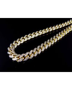 Solid Yellow Gold Diamond Miami Cuban Link Chain Necklace 6MM 24 Inch (7.0t)