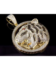 Men's Solid Yellow Gold Cheetah Cougar Diamond 2 inch Medallion Pendant (3.23ct)