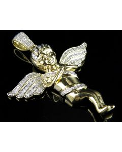 10K Yellow Gold Praying Hands Angel Diamond Pendant Charm 0.60ct 2""