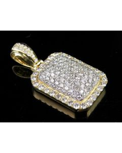 Men's 10K Yellow Gold Genuine Diamond Iced Dome Pillow Pendant Charm 3 Ct 1.3""