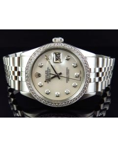Rolex Datejust Jubilee Stainless Steel with White Dial Diamond Watch (2.15 Ct)