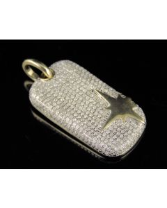 10K Yellow Gold Iced Out Bar Diamond Pendant Charm 3/5Ct 1.25""