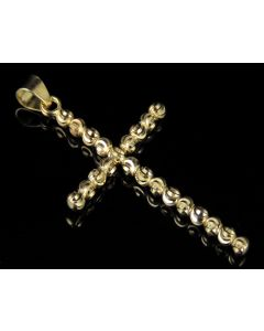 10K Yellow Gold Beaded Cross Pendant 1.8""