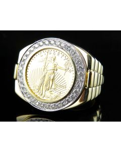 24K American Eagle/Liberty Coin Replica on 14K Yellow Gold Ring with VS Diamond Bezel 0.75Ct