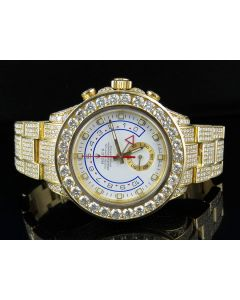18k Rolex Yacht-Master II Chrono 116688 Watch W/ Custom Set Diamond (39.5 Ct)