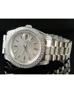 Mens White Gold Stainless Steel Presidential Simulated Diamond Watch 41MM