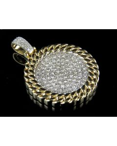 Men's 10K Yellow Gold Real VS2 Diamond Miami Iced Medallion Pendant 2.5ct