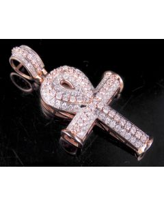 "Unisex 10K Rose Gold 2-Tone Ankh Cross Pendant 1.6"" 1.50 CT"
