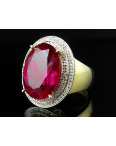 Men's Yellow Gold Finish Lab Ruby Real Diamonds Pinky Ring 0.50Ct