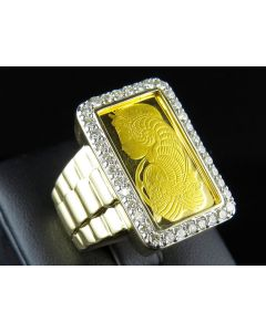 24K Yellow Gold Lady Fortuna Diamond Presidential Ring 1.50 ct