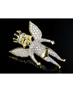 10K Yellow Gold Crowned Angel Cherub Genuine Diamond Iced Pendant 1 1/4 Ct 1.25""