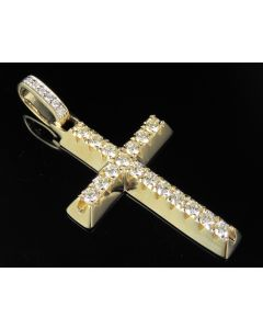 14K Yellow Gold Real Diamond Solid Cross Pendant 1.75 CT 2""