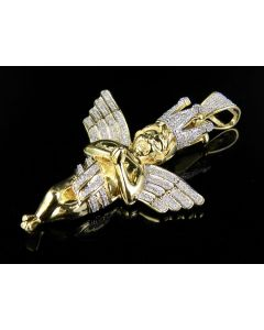 10K Yellow Gold Praying Hands Angel Genuine Diamond Pendant Charm 2/5 Ct 1.8""