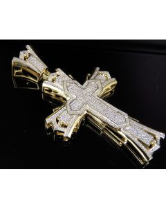 Yellow Gold Finish Real Diamond Large Designer Cross Pendant 0.75 CT