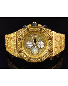 Iced Out Stainless Steel Canary Simulated Diamond Watch