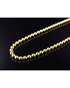 """10K Yellow Gold Beaded Dog Tag Chain Necklace 2.5MM 20""""-30"""""""