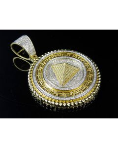 10K Yellow Gold Real Diamond Greek Pyramid Medallion Pendant 1.0CT