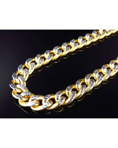 """10K Yellow Gold Diamond Cut Hollow Miami Cuban Link Chain Necklace 8MM 26""""-38"""""""