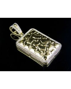 """10K Yellow Gold Nugget Style DogTag Pendant 0.32 Ct 1.5"""""""