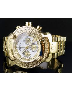 Mens Aqua Master Metal Band White Dial Diamond Watch W#96 0.45 Ct
