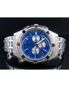 Mens Aqua Master Stainless Steel Blue Diamond Watch W#348 0.16 Ct