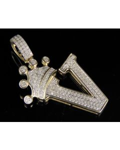 10K Yellow Gold Diamond Crown Initial V Letter Pendant 0.35 Ct 1.5""