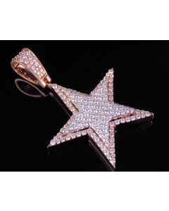 10K Rose White Gold Real Diamond Star Pendant Charm 2.50 CT 2""