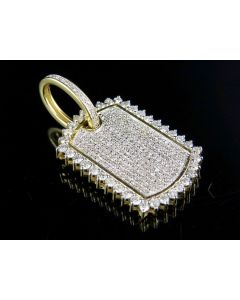 Mens 10K Yellow Gold Diamond Iced Out DogTag Pendant 1.25 Ct 1.4""