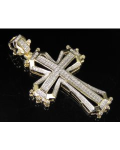 10K Yellow Gold Real Diamond Framed Cross Pendant 0.50 CT 1.8""