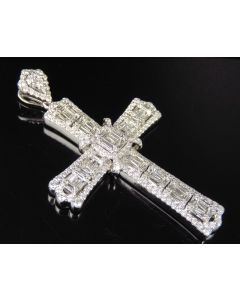 14K White Gold Real Baguette Diamond Cross Pendant 5 CT 2.5""