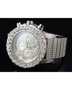Iced Out Stainless Steel Simulated Diamond Watch White Gold Finish 48MM